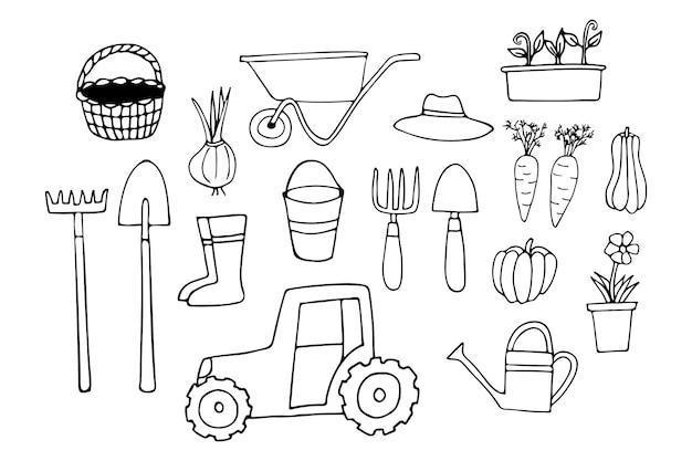 Colección de iconos de jardinería de doodle. colección de iconos de equipos de jardín dibujados a mano.