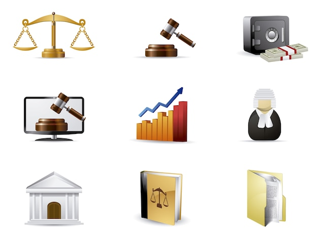 Colección de iconos de justicia