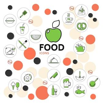 Colección de iconos de línea de alimentos con frutas, bebidas, pollo, pescado, helado, pastel, rosquilla, salchicha, pretzel, cocina