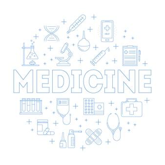 Colección de iconos de línea de medicina en marco de círculo