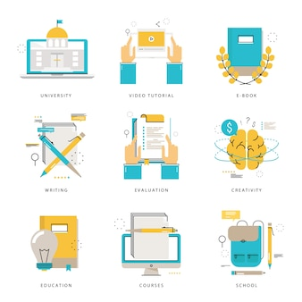 Colección de iconos de línea plana infográfica para e-learning, educación, cursos, evaluación, escritura, universidad, tutoriales, e-book ilustración vectorial. iconos de línea establecidos. diseño plano web elementos gráficos