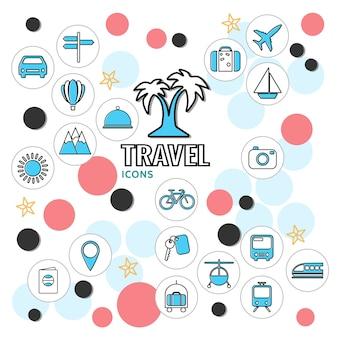 Colección de iconos de línea de vacaciones de verano con letrero de vehículos bolsa de palmera sun mountain key