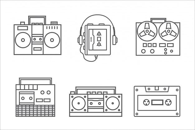 Colección de iconos lineal de grabadora retro