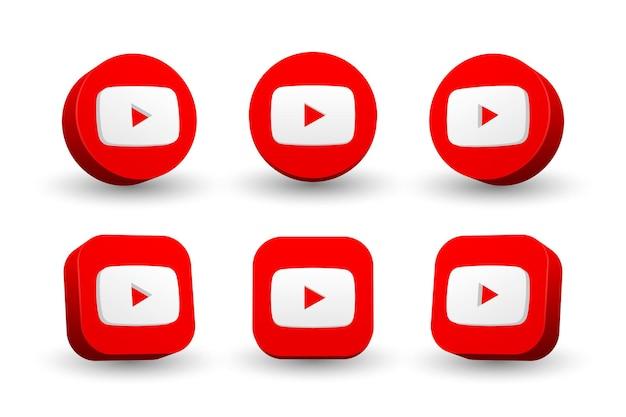 Colección de iconos del logo de youtube aislado en blanco