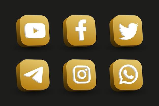 Colección de iconos de logotipo de redes sociales de vista en perspectiva cuadrada dorada aislada en negro
