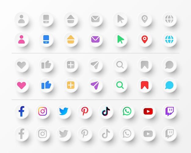 Colección de iconos y logotipos de redes sociales para tarjetas de visita y sitios web en estilo neumorfismo