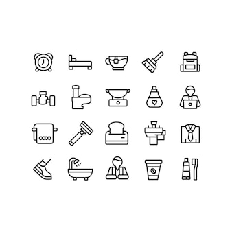 Colección de iconos de mañana en estilo lineal