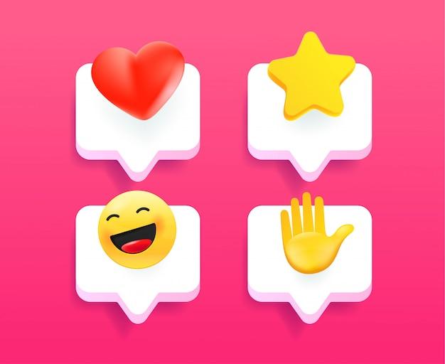 Colección de iconos de mensaje de teléfono móvil moderno estilo cómico
