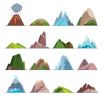 Colección de iconos de montaña en estilo plano