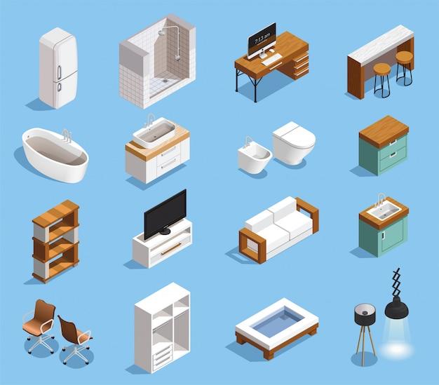 Colección de iconos de muebles modernos