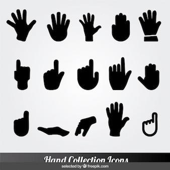 Colección de iconos negros de mano
