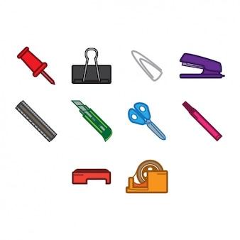 Colección de iconos de objetos de colegio
