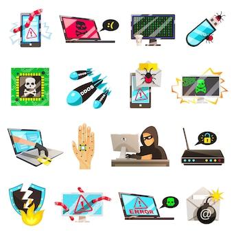Colección de iconos de ordenador criminal