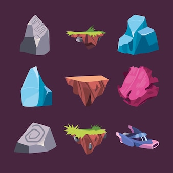 Colección de iconos de paisaje de interfaz de videojuegos