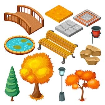 Colección de iconos de paisaje de parque de otoño isométrico