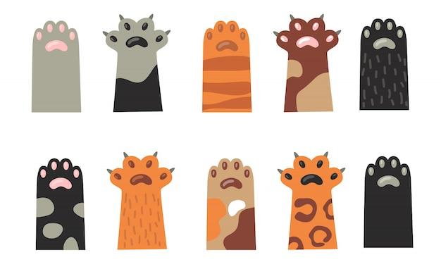 Colección de iconos de patas de gato