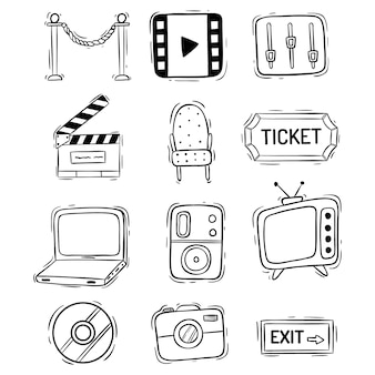 Colección de iconos de película o película con estilo doodle