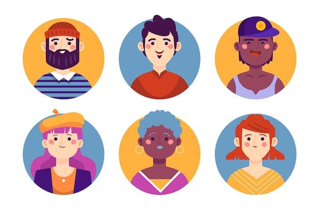 Colección de iconos de perfil dibujados a mano