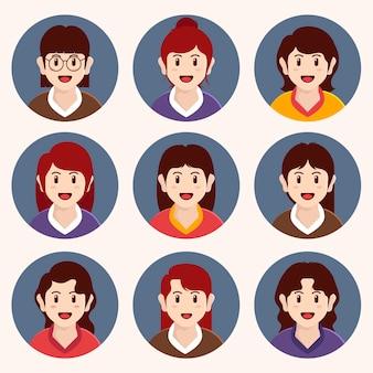 Colección de iconos de perfil de diseño plano creativo