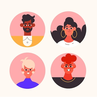 Colección de iconos de perfil de diseño plano