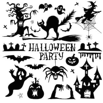 Colección de iconos y personajes de siluetas de halloween.
