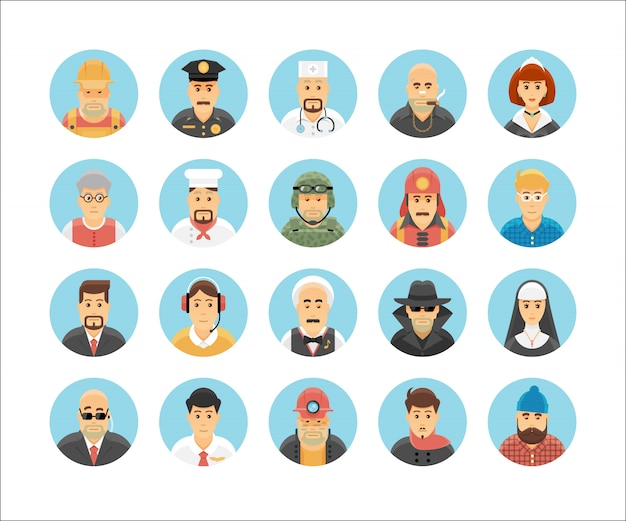 Colección de iconos de personas. conjunto de iconos que ilustran las ocupaciones de las personas, los estilos de vida, las naciones y las culturas.