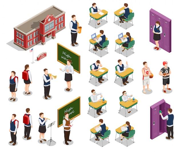 Colección de iconos de personas isométricas de secundaria con personajes humanos de profesores y estudiantes con ilustración de edificio escolar