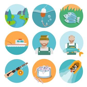 Colección de iconos de pesca