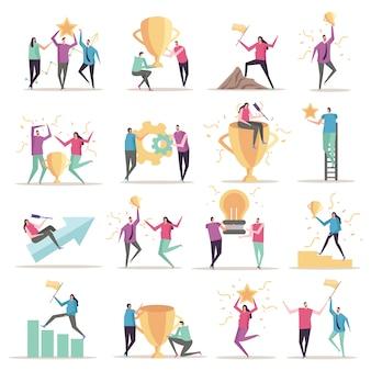 Colección de iconos planos de concepto de éxito con caracteres humanos de estilo doodle aislado con símbolos conceptuales y pictogramas