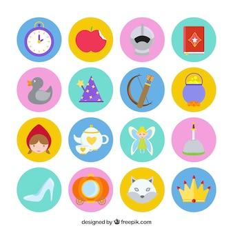 Colección de iconos planos de cuentos de hadas