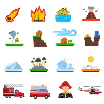 Colección de iconos planos de desastres naturales