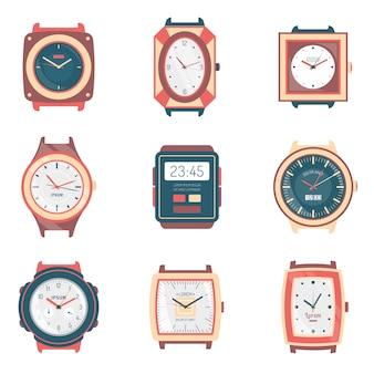 Colección de iconos planos de diferentes tipos de relojes