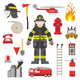 Colección de iconos planos de equipo profesional de bombero