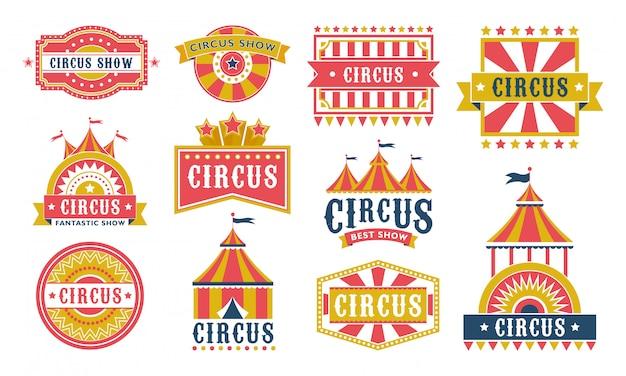 Colección de iconos planos de etiquetas de circo