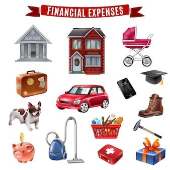 Colección de iconos planos de gastos familiares