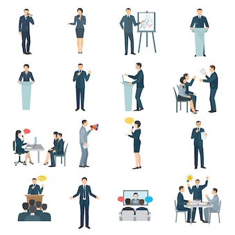 Colección de iconos planos de habilidades para hablar en público.