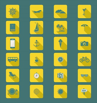 Colección de iconos planos modernos