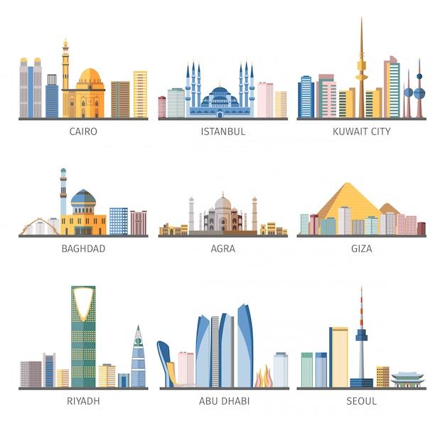 Colección de iconos planos de monumentos de paisajes urbanos del este