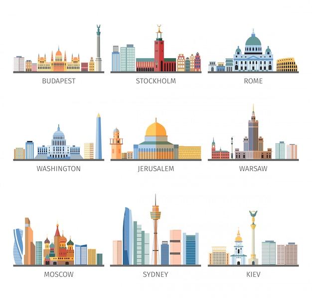 Colección de iconos planos de paisajes urbanos famosos del mundo