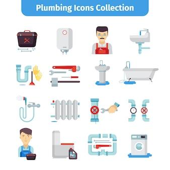 Colección de iconos planos de plomería
