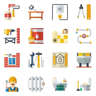 Colección de iconos planos de reparación de hogar