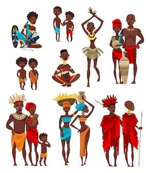 Colección de iconos planos de ropa de gente africana
