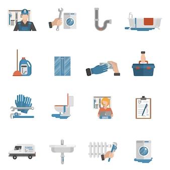 Colección de iconos planos de servicio de fontanería