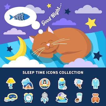 Colección de iconos planos de tiempo para dormir con pegatinas de decoraciones de dormitorio de banner de gato rojo de sueño nocturno aisladas