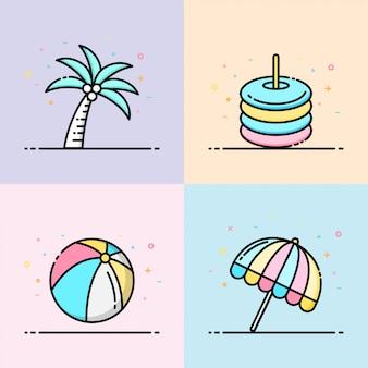 Colección de iconos de playa verano en color pastel.