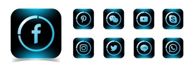 Una colección de iconos populares de redes sociales