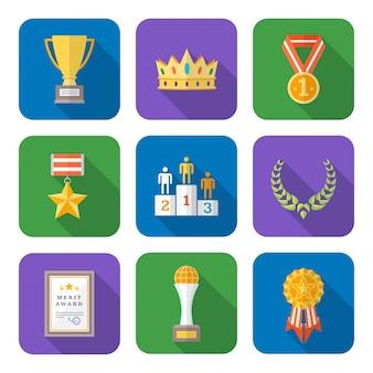 Colección de iconos de premios varios colores de estilo plano
