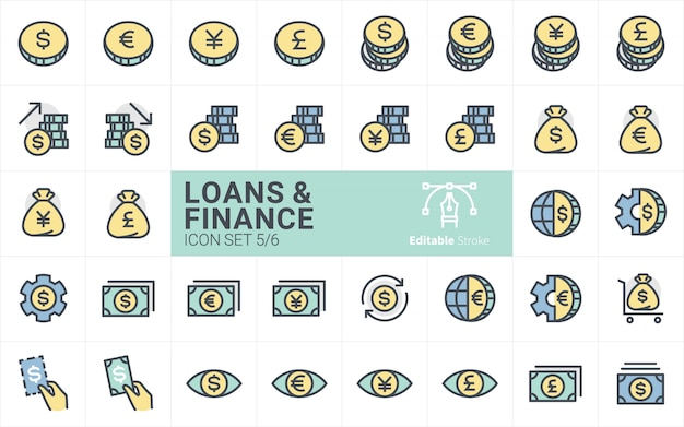 Colección de iconos de préstamos y finanzas con estilo de trazo de contorno vol.5