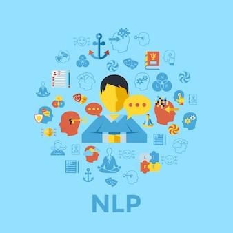 Colección de iconos de programación neuro lingüística