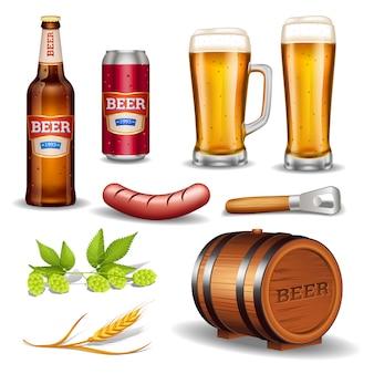 Colección de iconos realistas de cerveza